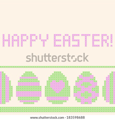 Easter eggs cross-stitched background. Seamless horizontal pattern.