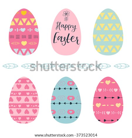 Easter eggs cute set on a white background. Easter eggs with Indian pattern hearts, geometric shapes and arrows. Hand drawn lettering Happy easter - stock vector