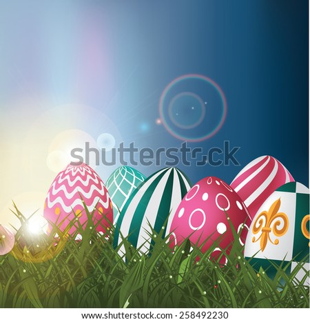 Easter eggs in field at sunrise background royalty free EPS 10 vector illustration for greeting card, ad, promotion, poster, flier, blog, article, social media, marketing, signage, web page, wallpaper - stock vector