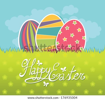 Easter eggs on a grass - stock vector