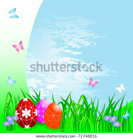 Easter eggs on a Spring background. vector.