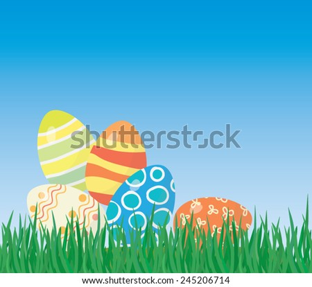 Easter eggs on the grass, horizontal seamless background - stock vector