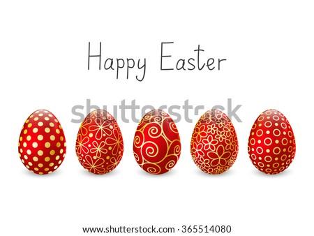 Easter eggs on white background - stock vector