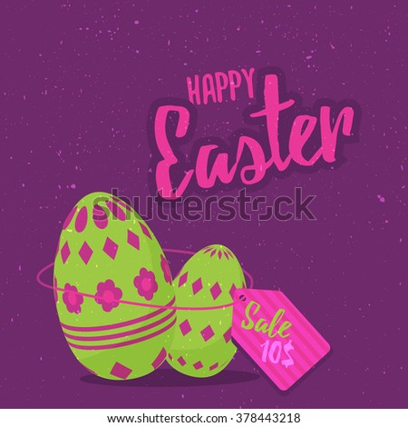 Easter eggs sale royalty free illustration for greeting card, ad, promotion, easter eggs poster, flier, blog, article, marketing, signage, brochure, ester eggs icon - stock vector