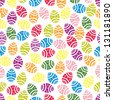 Easter eggs seamless pattern. Fully, easily editable vector illustration that can be used at any size. Included files: EPS10, JPG. No gradients, no transparencies. - stock photo
