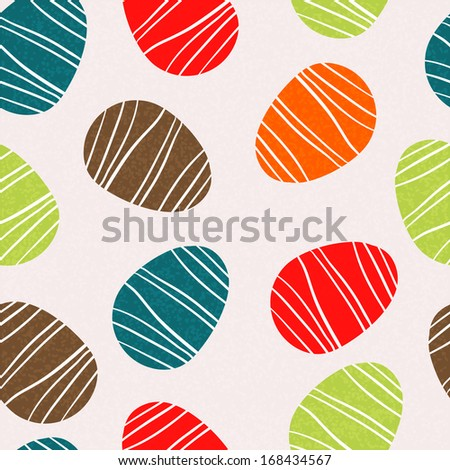 Easter eggs seamless pattern. Holiday background texture - vector