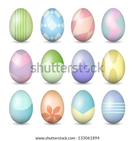 Easter eggs set - stock vector
