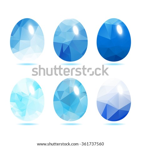 Easter eggs set  low polygon in Blue color isolated on white background vector illustration