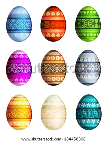 Easter eggs set with abstract pattern on white background