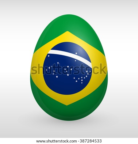 Easter eggs set with Brazil flag image vector icon Brasilia flag sign
