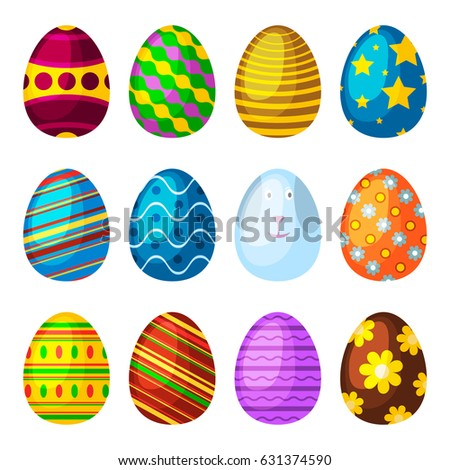 Easter Eggs Spring Colorful Isolated Celebration Stock Vector Beauteous Easter Eggs Decoration Design
