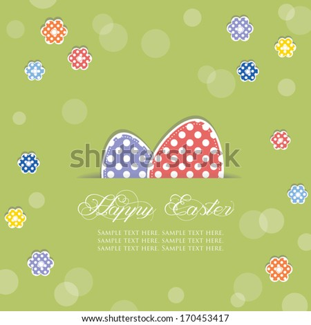 Easter eggs sticking out of a cut in paper, decorated with flowers