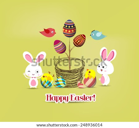 easter eggs tree bunny and birds - stock vector