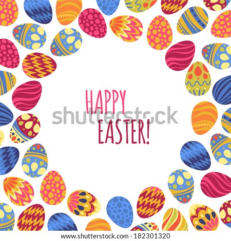 Easter eggs vector illustration.Pattern with decorated colorful eggs on background - stock vector