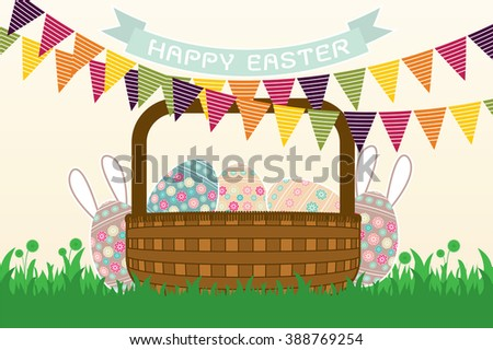 Easter eggs. Vector of easter eggs, can be used for wallpaper, cover fills, web page background, surface textures. Vector linen texture. - stock vector