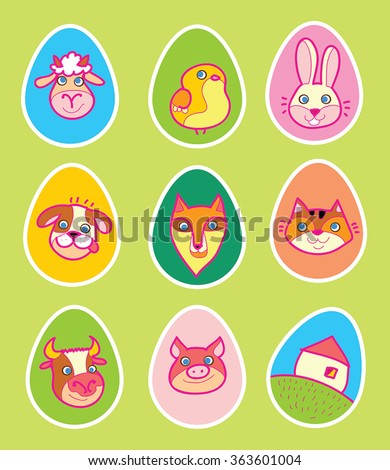 Easter eggs vector set with cute farm animals cartoon as eggs decoration. Easter rabbit, chicken, sheep, puppy, kitten ,cow, swine, forest fox and childish style drawing of little house. Funny Easter. - stock vector