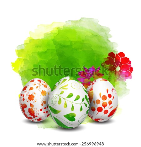 Easter eggs. Watercolor paints. Happy Easter. Vector objects. 3D. Realistic Easter eggs. Vector background. Folk floral painting.  - stock vector