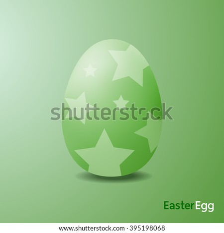 Easter eggs were star painted, gren color, Realistic style.