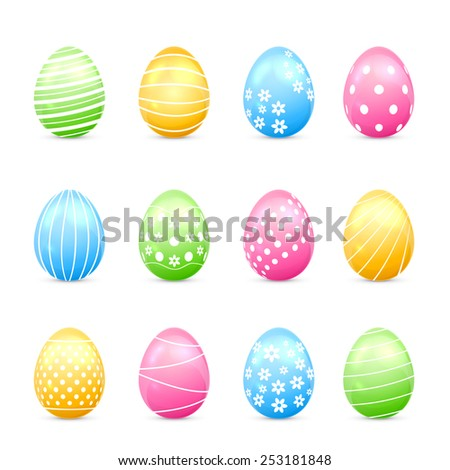 Easter eggs with decor isolated on white background, illustration. - stock vector