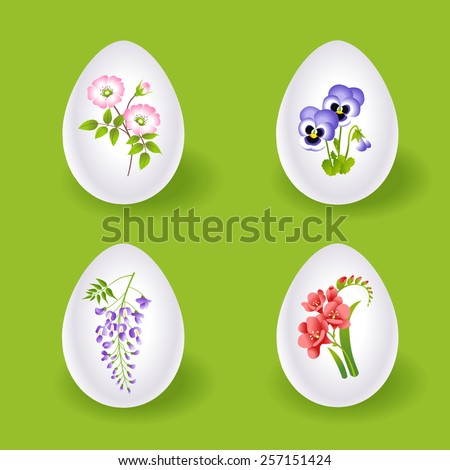 Easter eggs with floral decoration  - stock vector