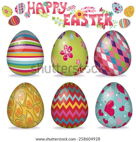 Easter eggs with ornaments,Volume object.Bright cute cartoon set.Vector isolate on white background. Hand drawing text - stock vector