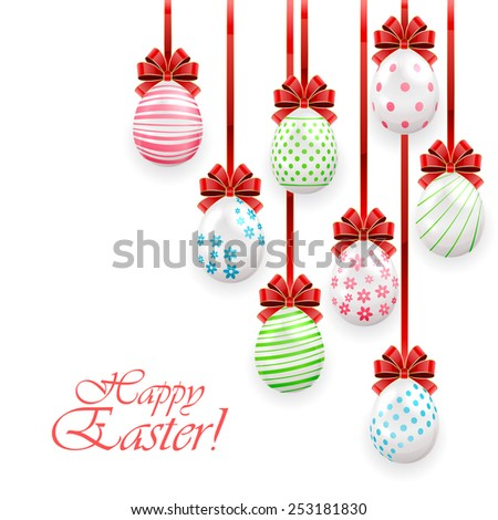 Easter eggs with red bow on white background, illustration. - stock vector