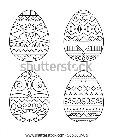 Easter Eggs Tribal Ornament Vector Coloring Stock Vector (2018 ...