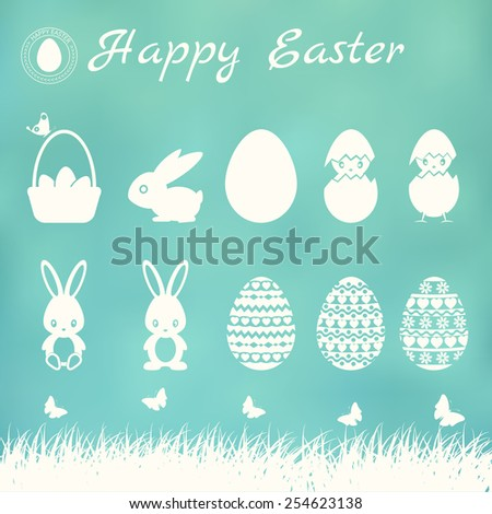 Easter elements on blurred background. Vector set. - stock vector