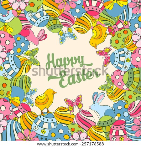 Easter festive doodle background with elements of spring holidays - stock vector