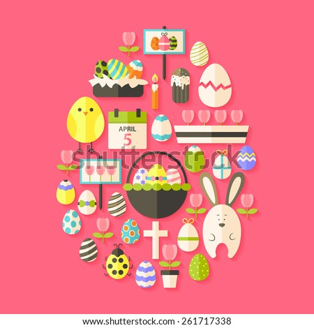 Easter Flat Icons Set Egg shaped with shadow over dark pink. Flat stylized holiday icons set  - stock vector
