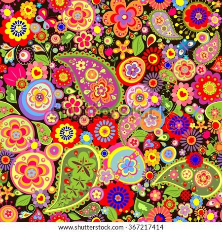 Easter floral wallpaper - stock vector