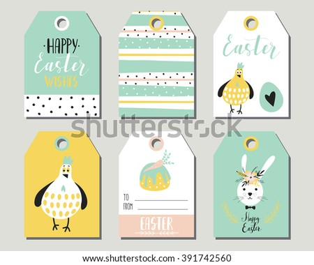 Easter gift tags cute easter bunny stock vector 391742560 easter gift tags with cute easter bunny eggs flowers and easter greetings set negle Images