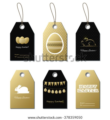 Easter gold tags easter greetings small stock vector 378359050 easter gold tags easter greetings small vector gift cards for easter design with bunny negle Choice Image