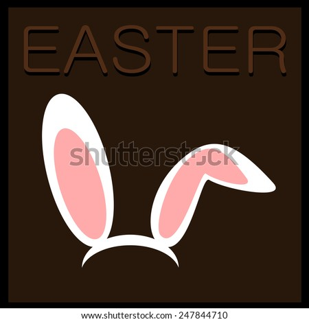 easter graphic design with rabbit ears - stock vector
