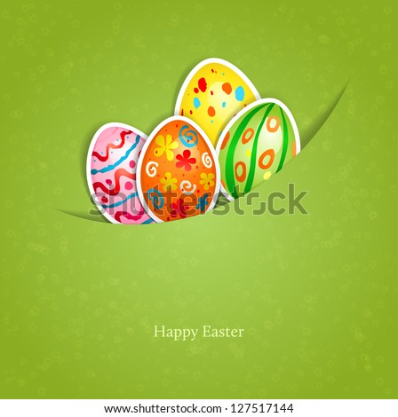 Easter green background with egg with space for text - stock vector