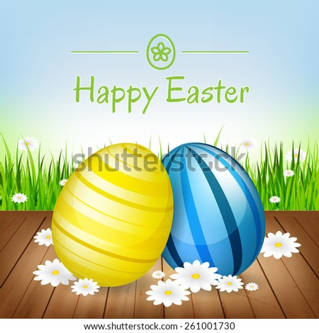 Easter greeting card. Easter eggs, flowers and green grass/vector illustration - stock vector
