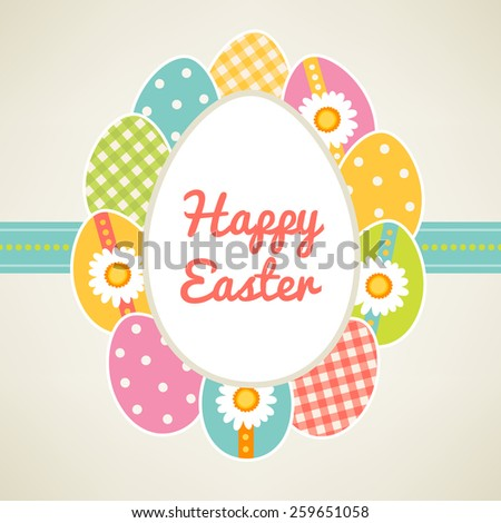 Easter greeting card. Label decorated eggs with Dots, Gingham and Floral Patterns. Perfect for Easter invitations - stock vector