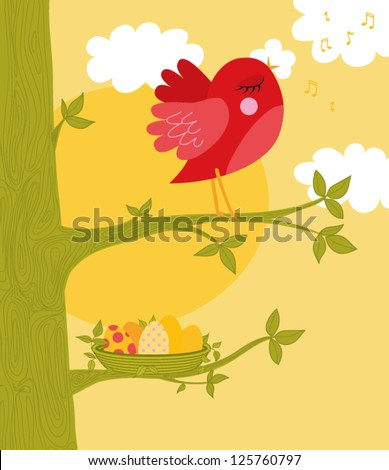 Easter Greeting Card - Sweet red bird singing, with a basket of eggs beneath, colorful and cheerful greeting