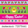 Easter greeting card with cartoon style chick and tulips - stock vector