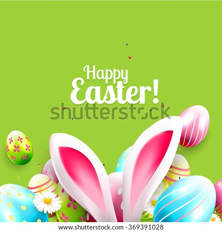 Easter greeting card with colorful eggs and bunny ears on green background - stock vector