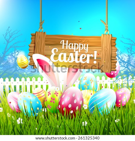 Easter greeting card with colorful eggs and wooden sign - stock vector