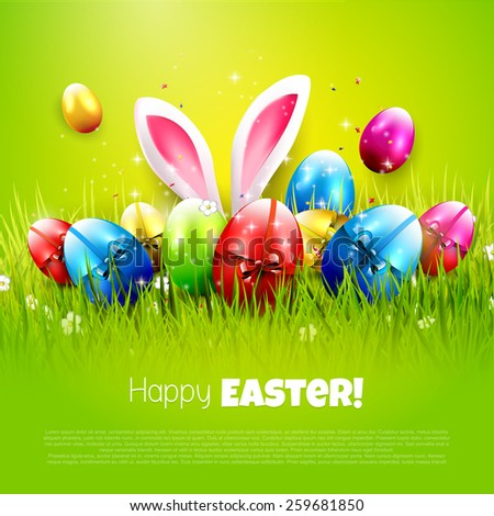 Easter greeting card with colorful eggs on green background - stock vector