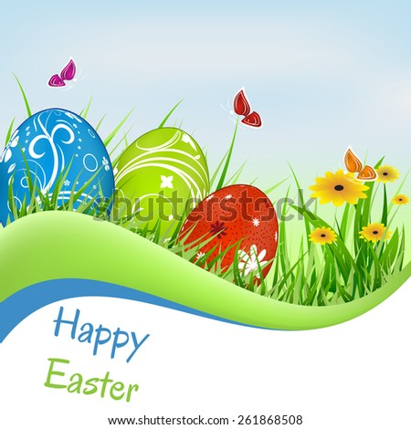 Easter greeting card with decoration and natural background, butterflies, eggs, green grass and flowers/vector illustration - stock vector