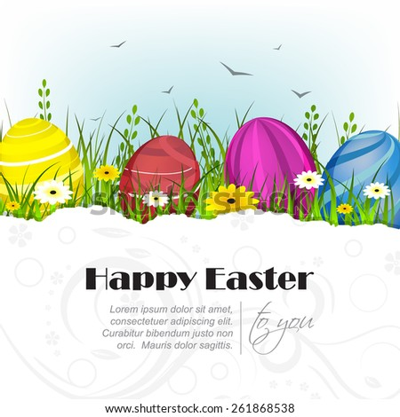 Easter greeting card with decoration and natural background, easter eggs, birds, green grass and flowers/vector illustration - stock vector