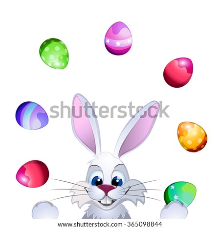 Easter greeting card with Easter rabbit, Easter eggs and original handwritten text Happy Easter. Vector illustration for posters, greeting cards, print and web projects. - stock vector