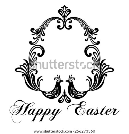 Easter Greeting Card with egg and birds. Vector illustration for your spring happy holiday design. White and Black color.  - stock vector