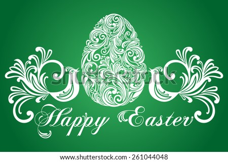 Easter Greeting Card with egg and birds. Vector illustration for your spring happy holiday design. White and green color.  - stock vector