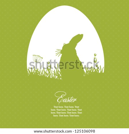 Easter greeting card with egg and rabbit - stock vector
