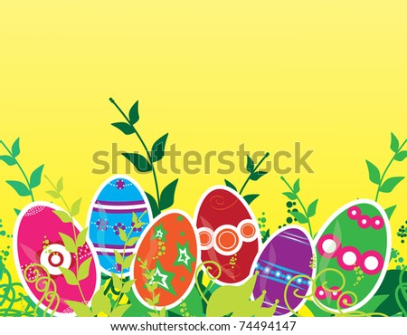 Easter greeting card with multicolor decorated eggs, green grass and space for text - stock vector