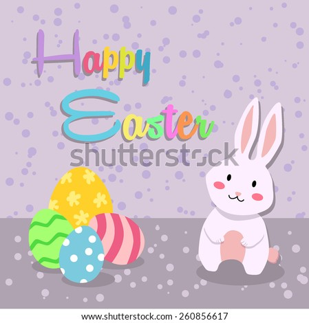 Easter greeting card with rabbit and easter eggs decoration in spotted purple background.